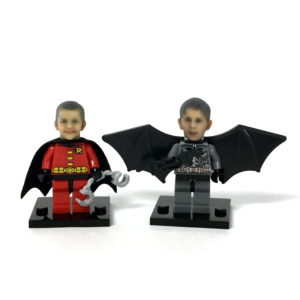 Good friends playing Lego Batman & Robin using our Lego Compatible heads.