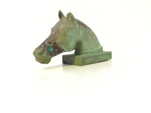 Head of a Horse, Birmingham Museums, Birmingham, England, Tiffany green applied to unpolished copper.