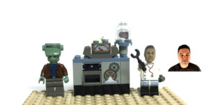 Lego Mad Scientist scene with Lego Compatible head we made of man pictured