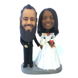 Custom wedding bobblehead (1:4) scale (L) heads.