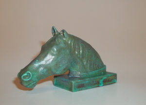 Head of a Horse, Birmingham Museums, Birmingham, England, polished copper with Tiffany green patina, sealed.